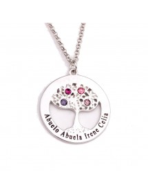 Necklace Custom Tree of Life 4 first Names Gift Box