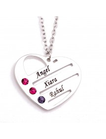 Necklace Custom Heart 3 First Name Peter Birth + Gift Box