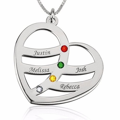 Necklace Heart 4 First Name Stone Birth V2 + Gift Box