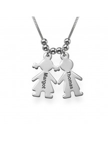 Necklace Personalized Children 2 Names + Gift Box