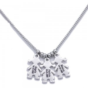 Necklace Personalized Silver Plated Child 3 First Name + Gift Box