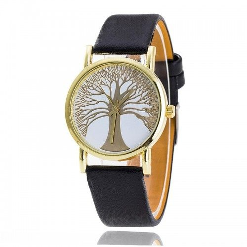 Black - Leatherette - Tree Of Life - Woman Watch