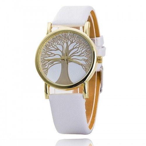 cef27736741 Relógio De Mulher - Árvore Da Vida - Imitação De Couro - Branco