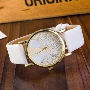 Reloj Mujer - Árbol De La Vida - Cuero De Imitación - Blanco