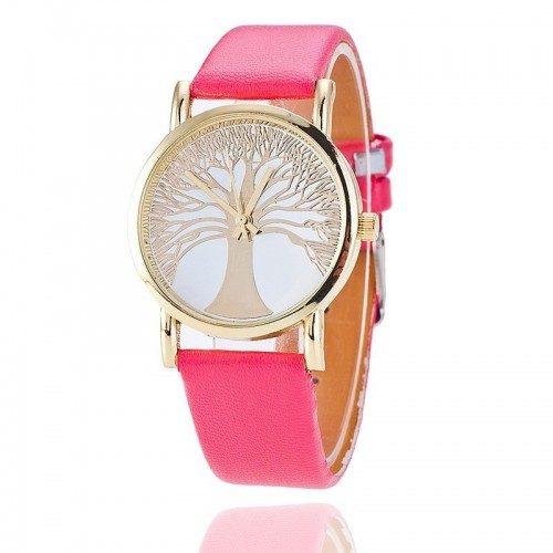 Reloj Mujer - Árbol De La Vida - Cuero De Imitación - Rosa