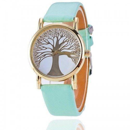 423051c276e Relógio De Mulher - Árvore Da Vida - Falso Couro Verde-Turquesa