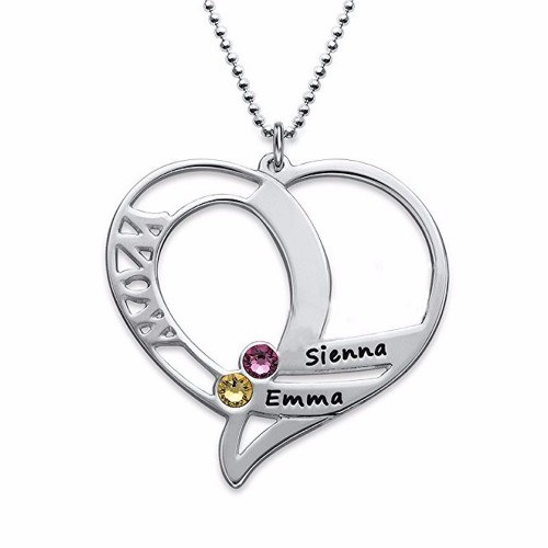 Necklace Heart WOW 2 Names Stones Birth + Gift Box