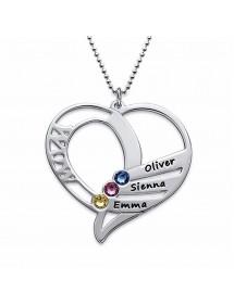 Collier Coeur WOW 3 Prénoms Pierres Naissances + Coffret Cadeau