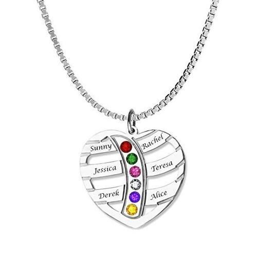 Collar De Corazón 6 Los Nombres De Las Piedras De Nacimiento V2 + Caja De Regalo
