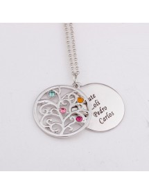 Necklace Tree of Life 4 first name Stone Birth + Gift Box