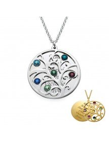Necklace Tree of Life 6 first name Stone Birth + Gift Box