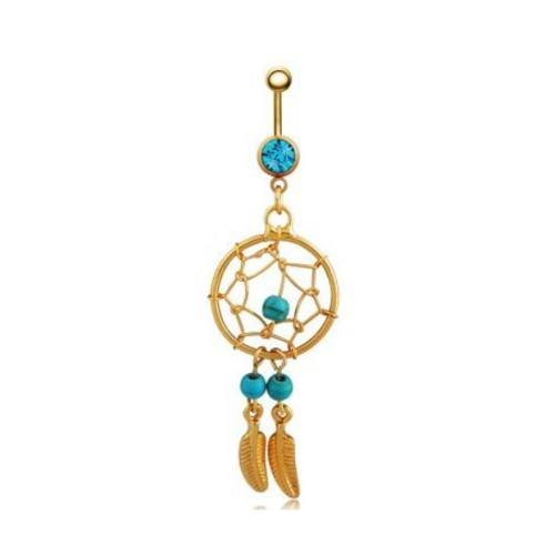 Piercing Belly Button - Catch Dream - V2 - Surgical Steel - Gold-Blue