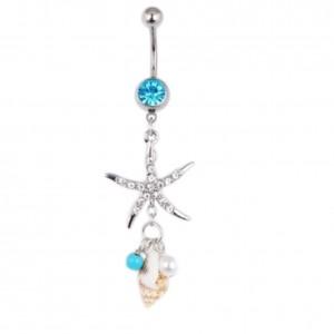 Piercing Popka Sea Star In Seashell - Kirurškega Jekla, Srebrne