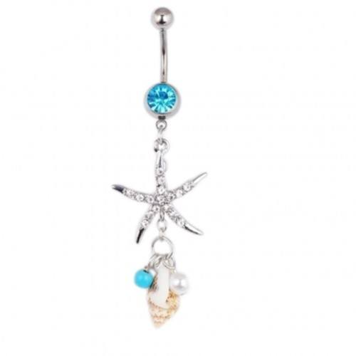 Piercing Navel Sea Star And Seashell - Surgical Steel Silver