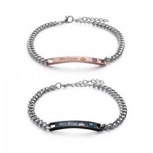 Bracelet Couple Son Roi Sa Reine (Her King His Queen) Lot de 2