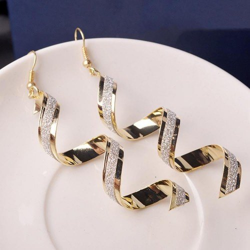 Earrings Twisted Spiral Gold