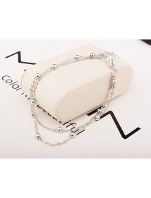 Chain of Ankle - Simply Double-Chain - Silvery