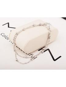 Řetěz Kotník - Jednoduše Double-Chain - Stříbrný