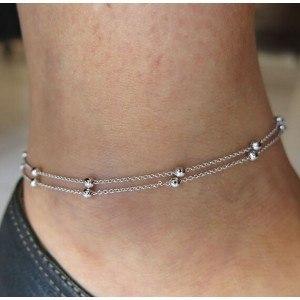 Kæden af Ankel - Bare Dobbelt-Kæde - Sølv-2