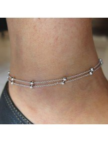 Chain of Ankle - Simply Double-Chain - Silver-2