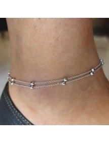 Řetěz Kotník - Jednoduše Double-Chain - Silver-2