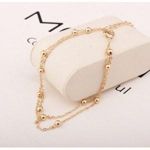 Řetěz Kotník - Jednoduše Double-Chain - Zlatý