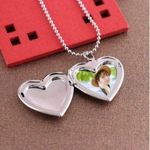 Necklace - Heart Locket for Photo - Silver