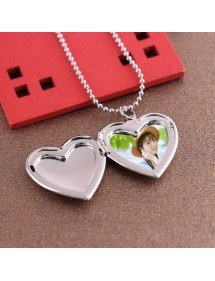 Collar - Relicario de corazón para foto - Plata