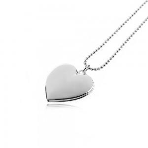 Колие - Сърце медальон за снимка - сребро