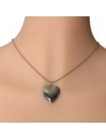 Halsband - Hjärtlås för foto - Silver