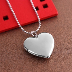 Collier - Médaillon Coeur pour Photo - Argenté