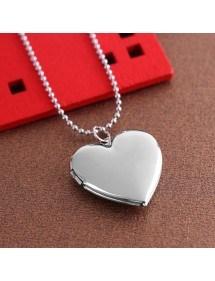 Colar - medalhão de coração para foto - prata