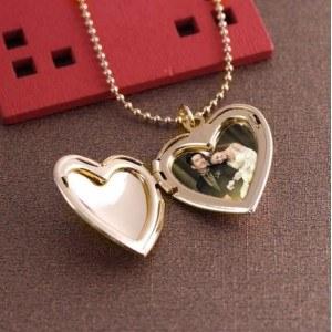 Колие - Медальон Сърце за Фото - Златен