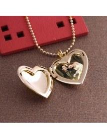 Collier - Médaillon Coeur pour Photo - Doré