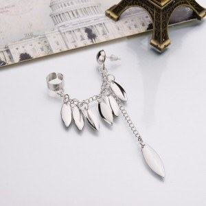 Earrings Chain Feather Multi-Silver
