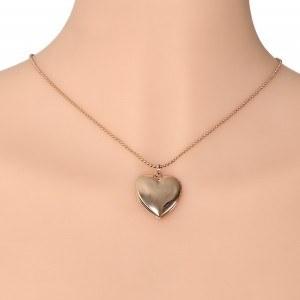 Collar - Relicario de corazón para foto - Dorado