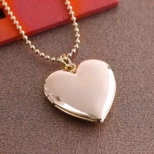 Halsband - Hjärtlås för foto - Guld