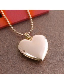 Ogrlica - Medaljon za srce za fotografiju - Zlato