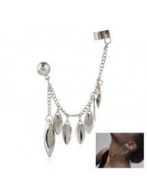 Earrings Chain Feather Multi-Silver 2