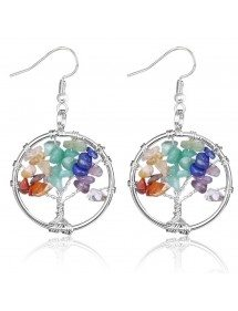 Earrings - Tree Of Life 7 Chakras - Multi-Colour