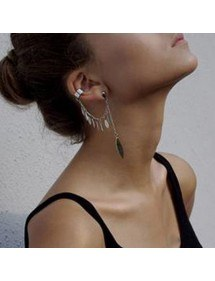 Earrings Chain Feather Multi-Silver 3