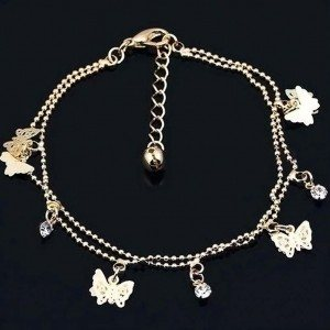 Řetěz Kotník - Motýli V2 - Zlatý