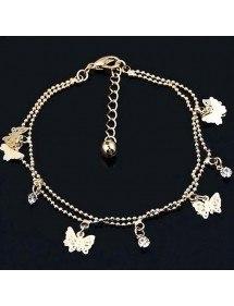 Chaine de Cheville - Papillons V2 - Doré
