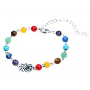 Chain of Ankle - Lotus 7 Chakras - Silver-tone - Multicolor
