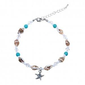 Chain of Ankle - starfish and Seashells - Silver