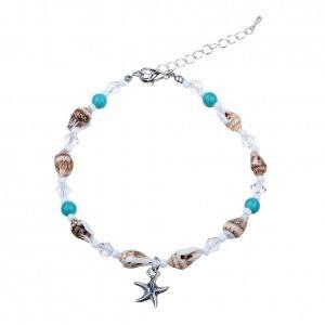 Chaine de Cheville - Étoile de Mer et Coquillages - Argenté