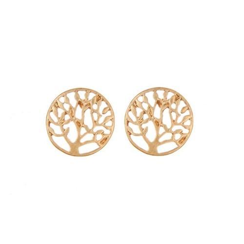 Earrings - Tree Of Life V2 - Thin and Elegant - Golden