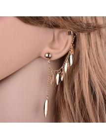 Earrings Chain Feather Multi-Golden