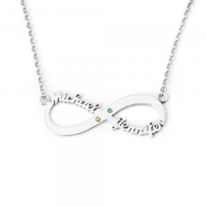 Necklace Infinity Silver 2 Names Stones Birth + Gift Box