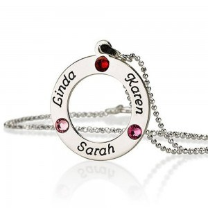 Necklace Personalized Round 3 First Name Peter Birth + Gift Box